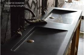 trough sink double black granite stone
