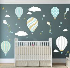 Hot Air Balloon Wall Decal Kites And Stars Wall Stickers Etsy Hot Air Balloon Nursery Nursery Wall Decals Nursery Room Decor Girl