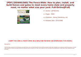Pdf Download The Fence Bible How To Plan Install And Build Fences And Gates To Meet Every Hom Text Images Music Video Glogster Edu Interactive Multimedia Posters
