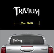 1 X Trivium Sticker 30cm Long White Decal Heavy Metal Rock Band Car Window Ebay