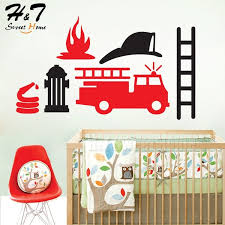 Fire Truck Engine Emergency Vehicle Car Vinyl Wall Sticker Decal Nursery Kids Baby Boys Room Home Decor Wish