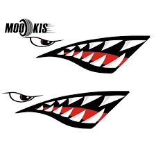 Promo Mounchain 2pcs Waterproof Diy Funny Rowing Kayak Rowing Boat Shark Teeth Accessories Mouth Sticker Vinyl Decal Sticker For Label Ev5bf3