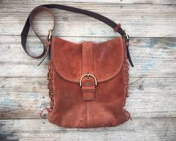 shoulder bag rust brown suede leather