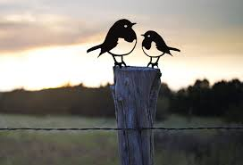 Robin And Baby Chick Fence Post Topper Silhouette