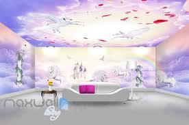 3d Unicorn Rainbow Castle Wall Murals Wallpaper Wall Paper Decals Art Idecoroom