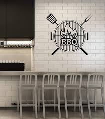Amazon Com Vinyl Wall Decal Bbq Barbecue Grill Bar Smokehouse Interior Art Stickers Mural Large Decor Ig5822 Black Kitchen Dining