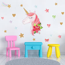 Girls Room Decor Beattiful Rainbow Unicorn Wall Sticker Gold Pink Stars Art Decoration For Nursery Home Modern Mural Decal Diy Buy At The Price Of 8 80 In Aliexpress Com Imall Com