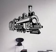Retro Locomotive Wall Decal Train Railroad Vinyl Sticker Home Interior Living Room Decor Kids Children Custom Decals 9 Trn Baby B01bvo5uty