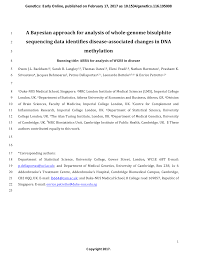 A Bayesian Approach for Analysis of Whole-Genome Bisulphite Sequencing Data  Identifies Disease-Associated Changes in DNA Methylation – topic of  research paper in Clinical medicine. Download scholarly article PDF and  read for free