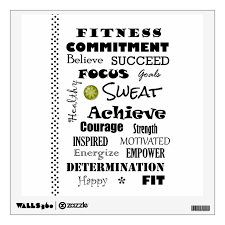 Motivational And Inspirational Fitness Typography Wall Decal Zazzle Com