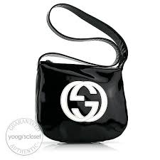 gucci vintage black patent leather logo