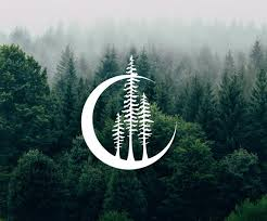 Crescent Moon Forest Vinyl Decals Car Laptop Stickers Etsy