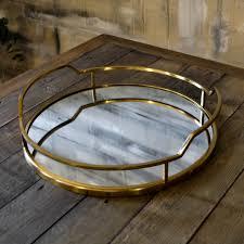 gold deco edge mirror tray livs