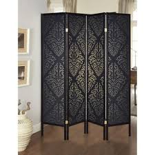 Benjara Captivating Black 4 Panel Folding Screen Room Divider With Damask Print Bm160106 The Home Depot