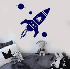 Vinyl Wall Decal Rocket Space Planet Kids Room Stickers Unique Gift I Wallstickers4you