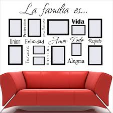 Free Shipping Spanish Wall Art Decals La Familia Es Vinyl Lettering Words Quote Sticker Mural For Photo Frame Decoration Wall Stickers Aliexpress