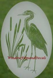 Egret Cattails Right Etched Window Decal Vinyl Glass Cling 21 X 33 By Vei 23 95 Can Apply To Mirrors Sl Window Decals Window Clings Sliding Glass Door