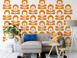 Mid Century Wall Decals 2 Color Olive Flower Wall Star Graphics