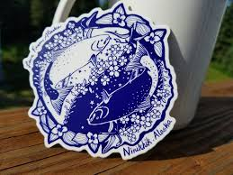 Salmon Ying Yang Medium Vinyl Sticker Love From Alaska