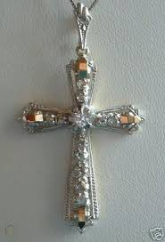 platinum 18k rose diamond cross pendant