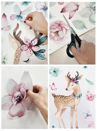 Wall Decal For Girls Deer With Flowers Flowers Wall Decals Watercolor Wall Decal Nursery Girls Room Decal Decals For Girl Rooms In 2020 Girls Room Decals Nursery Wall Decals Wall Decals