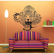 Shop Leopard Stickers Wild Animals Vinyl Sticker Decor Home Art Mural Kids Room Interior Design Sticker Decal Size 48x48 Color Black Overstock 14756149