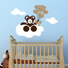 Nursery Wall Decal Cloud Bear Balloons Vinyl Art Mural Kit