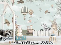Kids Woodland Animals Witj Vintage Aircraft And Windmill Wallpaper Mural Wallmur
