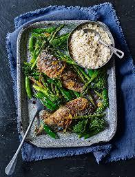 Traybaked teriyaki mackerel with greens ...