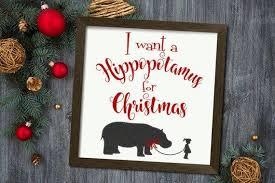 A Hippopotamus For Christmas Decor Farmhouse Christmas Sign Vinyl Deca Onlineamericanstore