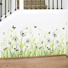 Amazon Com Wmdecal Removable Wall Sticker Peel And Stick Green Grass Dandelion And Butterfly Wall Decal For Living Room Home Kitchen