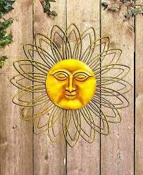 Rustic Brown Metal Wall Sun Face Indoor Outdoor Sculpture Fence Art Decor 22 Dia
