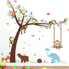 Shop Nursery Jungle Wall Sticker Forest Animal Wild Kids Room Decoration Background Online From Best Furniture And Decor On Jd Com Global Site Joybuy Com