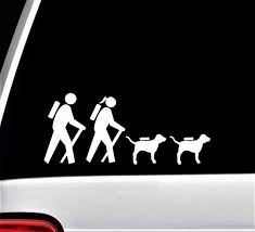 Amazon Com Hiker Hiking Couple With Dogs Decal Sticker For Car Window 8 Inch Bg 370 Handmade