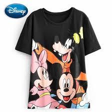 Disney Mickey Dễ Thương Chuột Minnie Chó Hoạt Hình In Đen Áo Thun Cổ Tròn  Chui Đầu Thun Ngọt Aó Thun Cao Cấp Áo phông