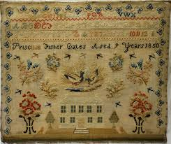 MID 19TH CENTURY HOUSE & MOTIF SAMPLER BY PRISCILLA FISHER GATES AGED 9 -  1850   eBay   Antique samplers, Antique quilts, Samplers