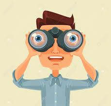 Man With Binoculars Vector Flat Cartoon Illustration Royalty Free Cliparts Vectors And Stock Illustration Image 55543075