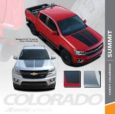 Chevy Colorado Hood Decals Summit Hood Vinyl Graphic Stripes 2015 2018 2019 Premium And Supreme Install Vinyl Speedycardecals Fast Car Decals Auto Decals Auto Stripes Vehicle Specific Graphics