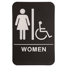 Family Handicap Accessible Bathroom Black Sign Plastic 12x18 Pack Store Signs