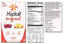 yoplait yogurt nutrition label