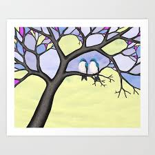 tree swallows in the stained glass tree
