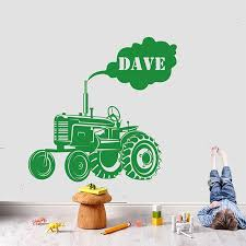 Personalized Boy Name Farm Tractor Wall Sticker Vinyl Home Decor Cartoon Truck Car Decal Interior Kids Room Playroom Mural Na52 Wall Stickers Aliexpress