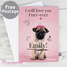 personalised pug birthday card gifts