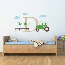 Cartoon Tractor Wall Decals Personalized Name Initial Removable Nursery Art Stickers For Kids Room Home Decor Drop Shipping Sticker For Kids Room Stickers Fornursery Stickers Aliexpress