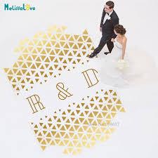 Custom Groom Bride Initial Geometry Triangle Wedding Dance Floor Decal Wedding Monogram Waterproof Party Wallpaper Ba888 Wall Stickers Aliexpress