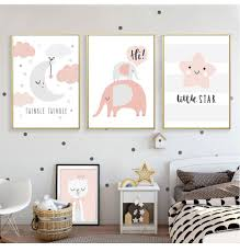 Cute Pink Nordic Nursery Wall Art Twinkle Little Star Girls Room Fine Art Canvas Prints Nordicwallart Com