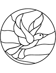 bird stained glass coloring page free