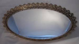 vintage mirrored dresser tray with