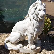 reproduction pair of large lion statues