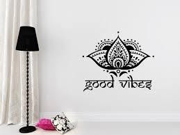 Good Vibes Sticker Yoga Studio Wall Decals Lotus Flower Etsy